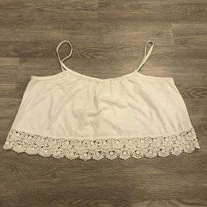 TNA Crochet Trim Spaghetti Strap Crop Top Size M